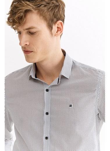 Avva Erkek  Baskılı Klasik Yaka Slim Gömlek A01S2262 Beyaz